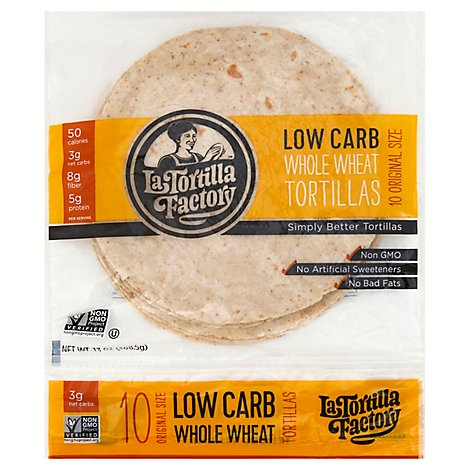 La Tortilla Factory Tortillas Whole Wheat Low Carb Original Bag 10 Count - 13 Oz