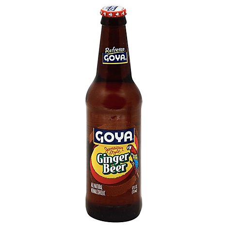 Goya Refresco Soda Ginger Beer Jamaican Style Bottle - 12 Fl. Oz.