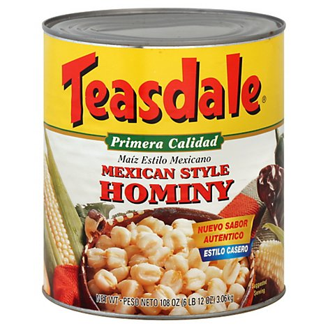 Teasdale Hominy Mexican Style Can - 108 Oz