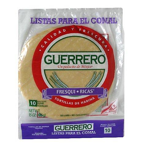 Guerrero Tortillas Flour Soft Taco De Harina Fresqui Ricas Bag 10 Count 15 Oz Vons
