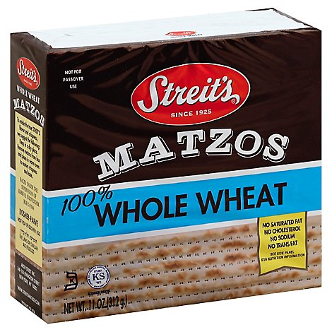 Streits Whole Wheat Matzos - 11 Oz