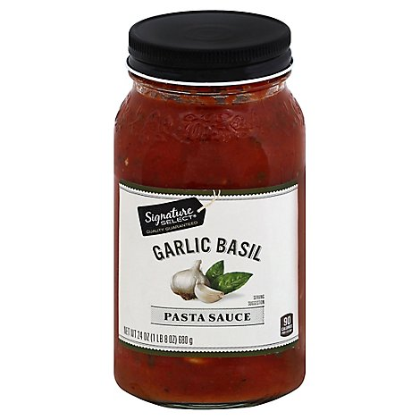 Signature SELECT Pasta Sauce Garlic Basil Jar - 24 Oz