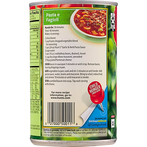 Hunts Pasta Sauce Garlic & Herb Can - 24 Oz