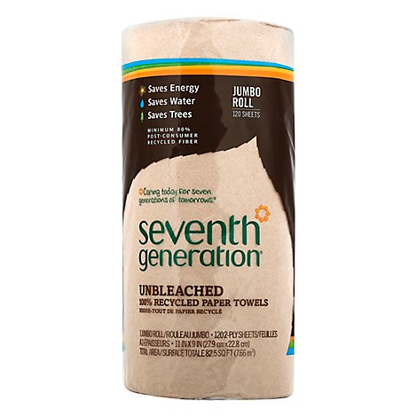 Seventh Generation Paper Towels 2-Ply 100% Recycled Paper Brown Unbleached 120 Sheets - 1 Roll