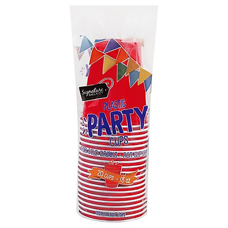 Signature Home Cups Plastic Party Red 18 Ounces - 20 Count