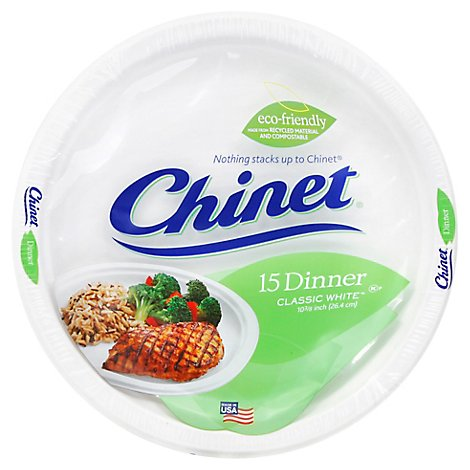 Chinet Dinner Plates 10 3/8 Inch Wrapper - 15 Count