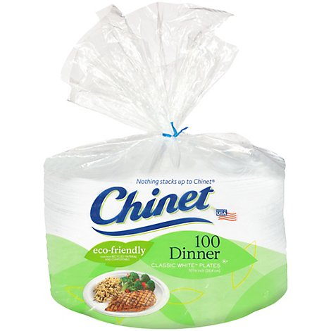 Chinet Dinner Plates 10 3/8 Inch Classic White - 100 Count