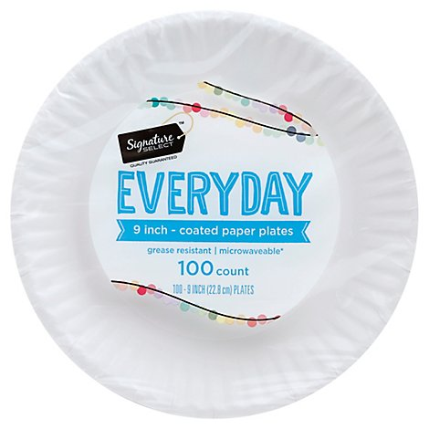 Signature SELECT Plates Paper Everyday Coated 9 Inch White - 100 Count