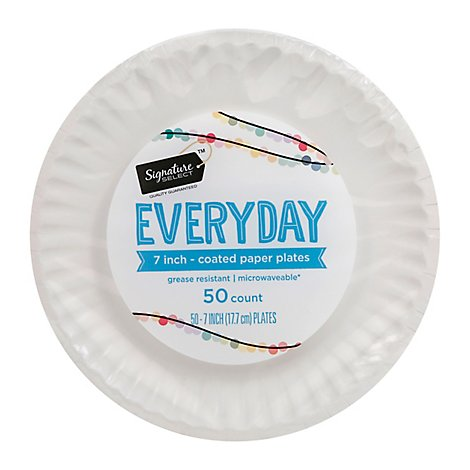 Signature SELECT Plates Paper Everyday Coated 7 Inch White - 50 Count