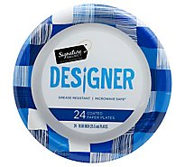 Signature SELECT Plates Paper Designer Coated 10.25 Inch Blue - 24 Count
