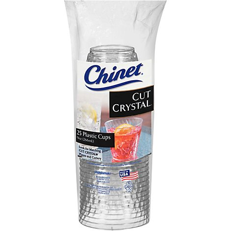 Chinet Cups Plastic 9 Ounce Cut Crystal Bag - 25 Count