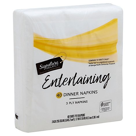 Signature SELECT/Home Napkins 3 Ply Premium Dinner - 40 Count