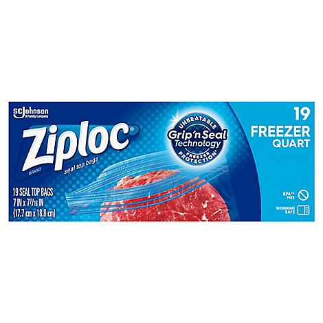 Ziploc Seal Top Freezer Bags Quart - 19 Count