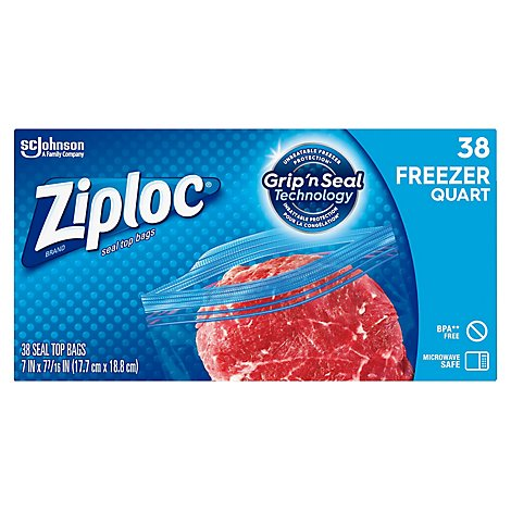 Ziploc Grip N Seal Freezer Bags Quart - 38 Count