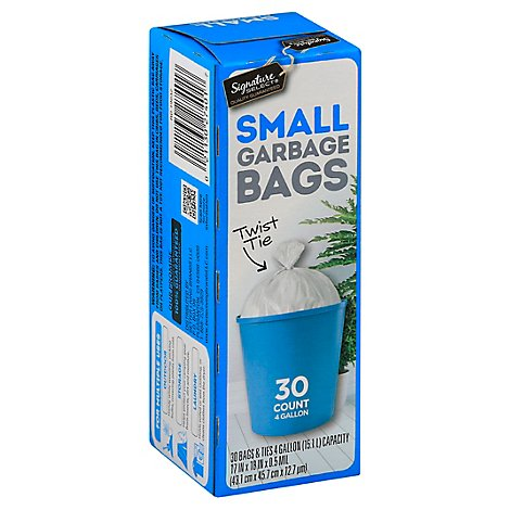 Signature SELECT/Home Garbage Bags Twist Tie Small 4 Gallon - 30 Count