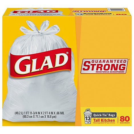 Glad Kitchen Bags Tall Quick-Tie 13 Gallon - 80 Count