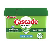 Cascade Dishwasher Detergent ActionPacs Fresh Scent Tub - 60 Count