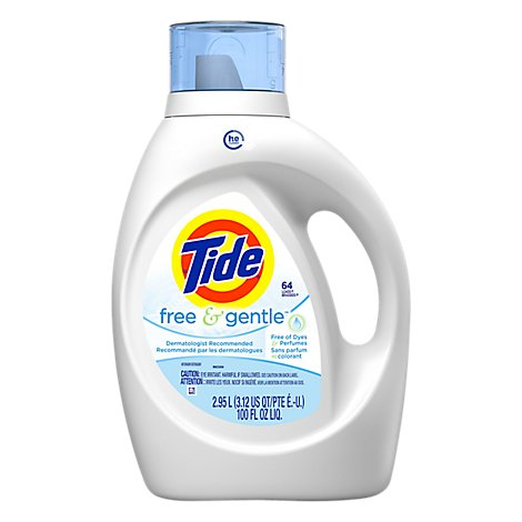 Tide Laundry Detergent Liquid HE Turbo Clean Free & Gentle Jug - 100 Fl. Oz.