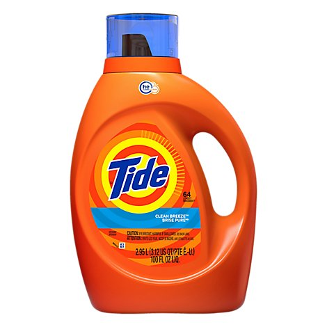 Tide Laundry Detergent Liquid HE Turbo Clean Clean Breeze - 100 Fl. Oz.