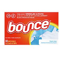 Bounce Fabric Softener Sheets Fresh Linen - 80 Count
