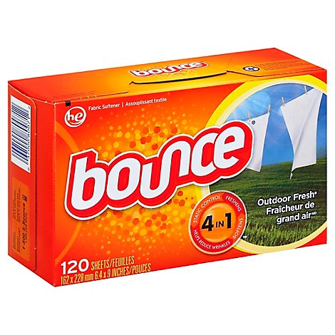 Bounce Fabric Softener Dryer Sheets Outdoor Fresh - 120 Count
