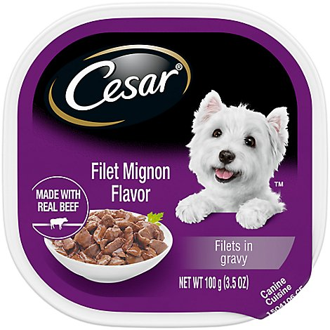 Cesar Dog Food Soft Wet Filets In Gravy Filet Mignon Flavor Tray - 3.5 Oz