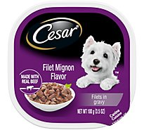CESAR Dog Food Soft Wet Filets In Gravy Filet Mignon Flavor Easy Peel Tray - 3.5 Oz