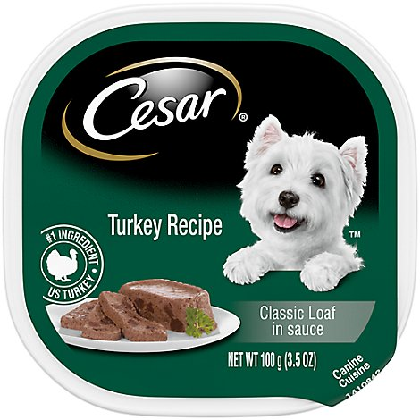 CESAR Dog Food Soft Wet Classic Loaf In Sauce Turkey Recipe Tray - 3.5 Oz
