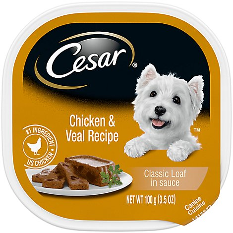 Cesar Classics Canine Cuisine In Meaty Juices with Chicken & Veal Tub - 3.5 Oz