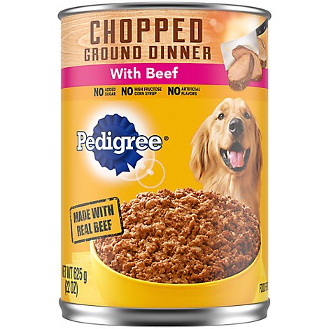 PEDIGREE Dog Food Ground Dinner Chopped With Beef Can - 22 Oz