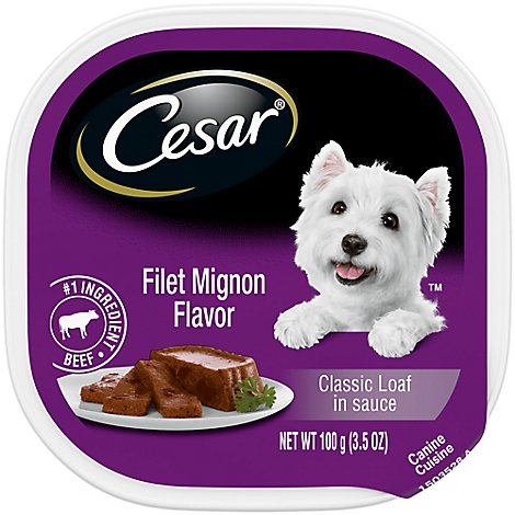 CESAR Dog Food Soft Wet Classic Loaf In Sauce Filet Mignon Easy Peel Tray - 3.5 Oz