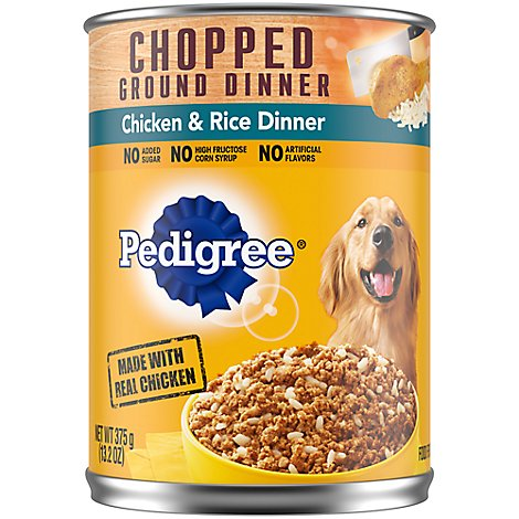 PEDIGREE Dog Food Ground Dinner Traditional Chicken & Rice Dinner Can - 13.2 Oz