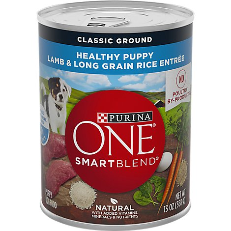 Purina ONE SMARTBLEND Dog Food Classic Ground Adult Lamb & Long Grain Rice Entree Can - 13 Oz