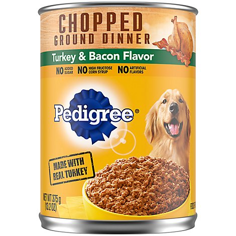 Pedigree Dog Food Wet For Adult Chopped Ground Dinner Turkey & Bacon Flavor - 13.2 Oz