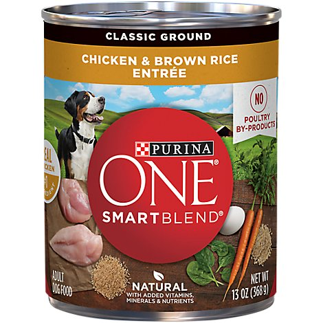 Purina ONE SMARTBLEND Dog Food Classic Ground Adult Chicken & Brown Rice Entree Can - 13 Oz