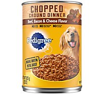 PEDIGREE Dog Food Ground Dinner Chunky With Beef Bacon & Cheese Can - 22 Oz