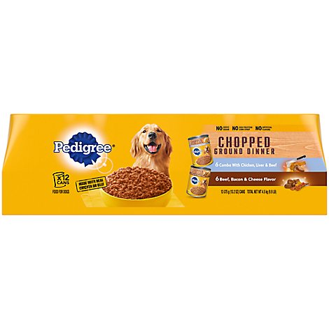 PEDIGREE Dog Food Ground Dinner Chunky With Beef Variety Wrapped - 12-13.2 Oz