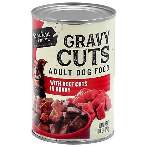 Signature Pet Care Dog Food Gravy Cuts Adult With Beef Cuts In Gravy Can - 22 Oz