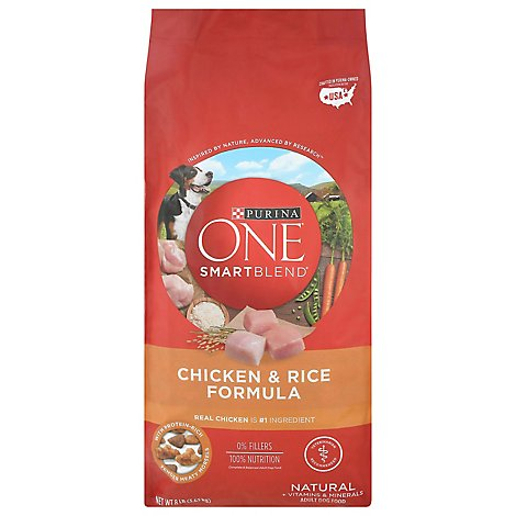 Purina ONE SMARTBLEND Dog Food Premium Adult Chicken & Rice Formula Bag - 8 Lb