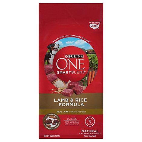 Purina ONE SMARTBLEND Dog Food Premium Adult Lamb & Rice Formula Bag - 8 Lb