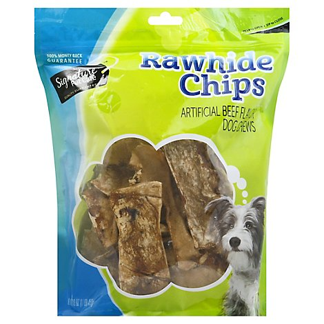 Signature Pet Care Dog Treat Rawhide Chips Beef Basted - 16 Oz