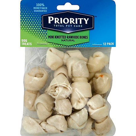 Signature Pet Care Dog Treat Natural Rawhide Bones Mini Knotted - 12 Count