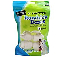 Signature Pet Care Dog Treat Natural Rawhide Bones Knotted 4 Inch - 4 Count