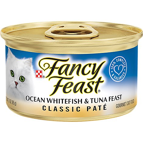 Fancy Feast Cat Food Gourmet Classic Ocean Whitefish & Tuna Feast Can - 3 Oz