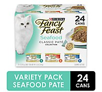 Fancy Feast Cat Food Gourmet Classic Seafood Feast Variety 3 Flavors 8 Each Box - 24-3 Oz