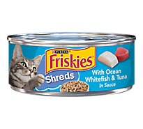 Friskies Cat Food Savory Shreds With Ocean Whitefish & Tuna In Sauce Can - 5.5 Oz