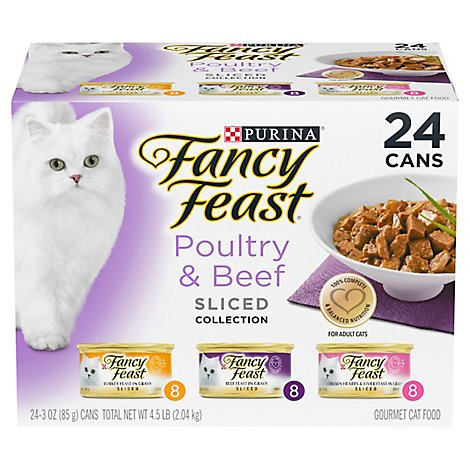 Fancy Feast Cat Food Gourmet Sliced Collection Poultry & Beef 3 Flavors 8 Each Box - 24-3 Oz