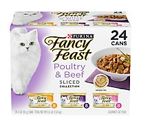Fancy Feast Cat Food Wet Sliced Collection Poultry & Beef - 24-3 Oz