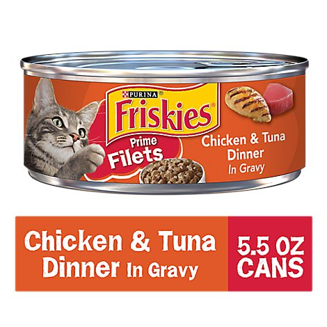 Friskies Cat Food Prime Filets Chicken & Tuna Dinner In Gravy Can - 5.5 Oz