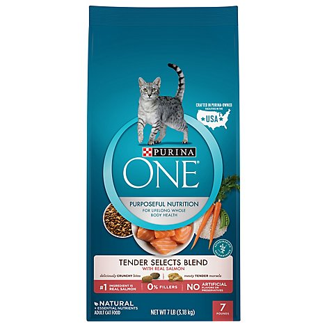 Purina ONE Smartblend Cat Food Premium with Real Salmon - 7 Lb